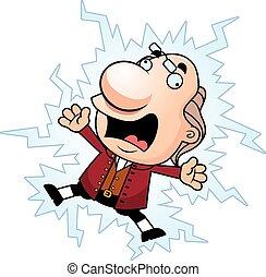 Cartoon Ben Franklin Electrocuted