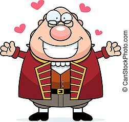 Cartoon Ben Franklin Hug - A cartoon illustration of Ben...