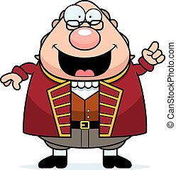 Cartoon Ben Franklin Idea - A cartoon illustration of Ben...