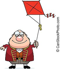 Cartoon Ben Franklin Kite - A cartoon illustration of Ben...