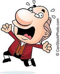 Cartoon Ben Franklin Panicking - An illustration of a...