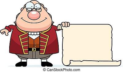 Cartoon Ben Franklin Parchment - A cartoon illustration of...
