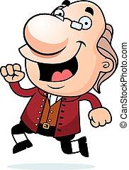 Cartoon Ben Franklin Running