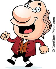 Cartoon Ben Franklin Walking - An illustration of a cartoon...