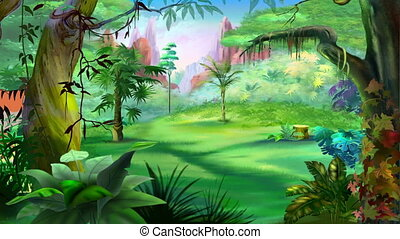 Cartoon Bengal Tiger Walks Through the Jungle in a Summer Day. Handmade animation, motion graphic.