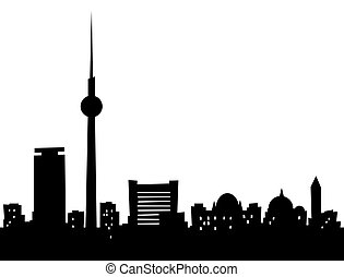 Cartoon Berlin - Cartoon skyline silhouette of the city of...