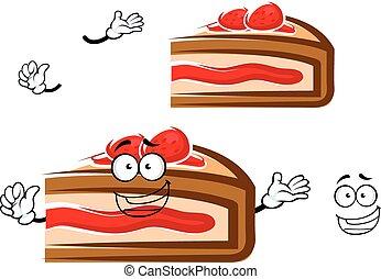 Cartoon berry pie slice with strawberry