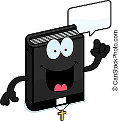 Cartoon Bible Talking - A cartoon illustration of a bible...
