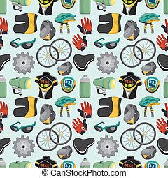 cartoon bicycle equipment seamless pattern
