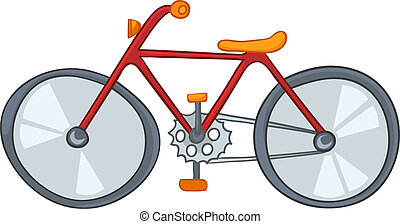 Cartoon Bicycle - Cartoon Sport Object Bicycle Isolated on...