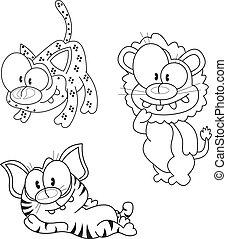 Cartoon big cats - Three funny cartoon big cats (a tiger, a ...