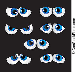 cartoon big eyes with a different look on a black background