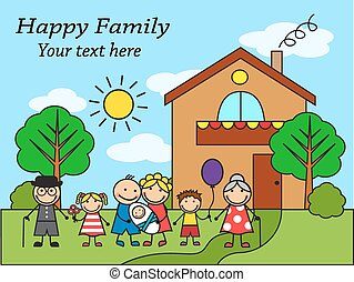 Cartoon big happy family