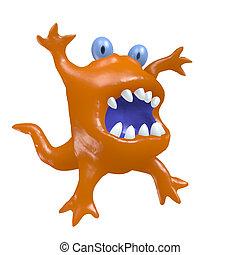 Cartoon big head orange monster. 3D illustration.