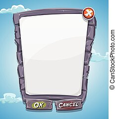 Cartoon Big Stone Agreement Panel For Ui Game - Illustration...