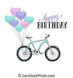 Cartoon bike with balloons