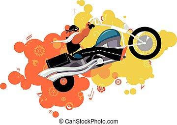 Cartoon biker on a motorbike