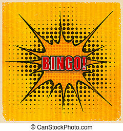 Cartoon Bingo on an old-fashioned yellow background. Vector illu