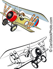 cartoon biplane. Available EPS-8 vector format separated by ...