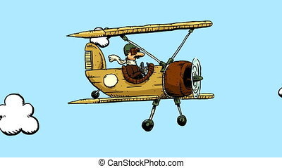 Cartoon Biplane - A cartoon biplane flies through the sky.