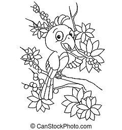 Cartoon bird coloring page vector illustration