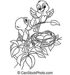 Cartoon bird egg in nest coloring page vector