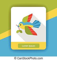 cartoon bird flat icon