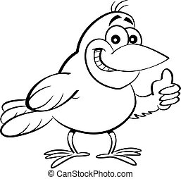 Cartoon bird giving thumbs up.