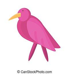 cartoon bird icon, flat detail style