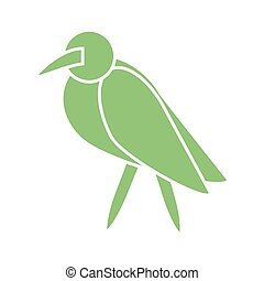 cartoon bird icon, silhouette style