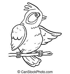 Cartoon Bird on branch tree - Vector Illustration