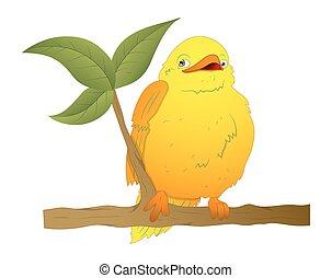 Cartoon Bird on Branch Vector