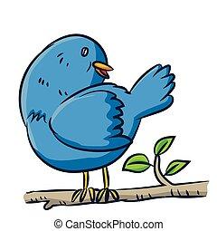 Cartoon bird on branch - Vector clipart illustration