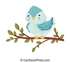Cartoon bird sitting on a branch. Vector illustration on white background.