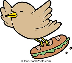 cartoon bird stealing sandwich