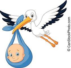 Cartoon bird Stork with baby - Vector illustration of...