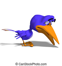 Cartoon Bird Twitter - funny toon bird twitters around. With...