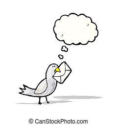 cartoon bird with envelope