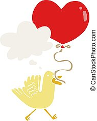 cartoon bird with heart balloon and thought bubble in retro style