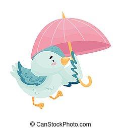Cartoon bird with umbrella. Vector illustration on white background.