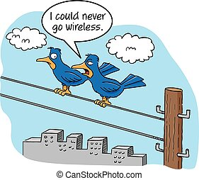 Cartoon Birds on a Wire - Cartoon of two birds talking on a...