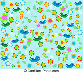 cartoon birds on blue floral decor