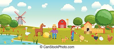 cartoon birds on farm banner - Cartoon banner on a ...