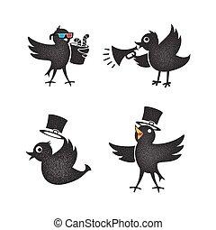 Cartoon birds set