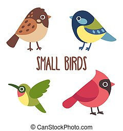 Cute cartoon wild birds set. Sparrow and blue tit, colibri and red cardinal. Vector bird icons.