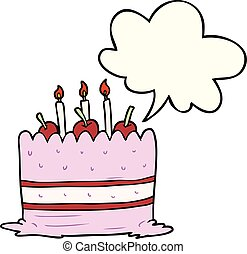 cartoon birthday cake and speech bubble