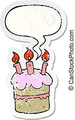 cartoon birthday cake and speech bubble distressed sticker