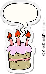 cartoon birthday cake and speech bubble sticker