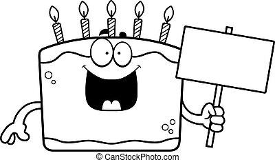 Cartoon Birthday Cake Sign
