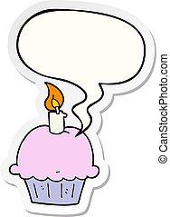 cartoon birthday cupcake and speech bubble sticker